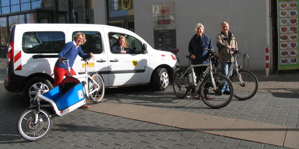 Bicycles and cargo bikes as part of the municipal fleet in the City of Dortmund.